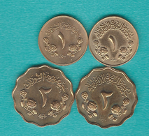 1 AH1387 (1967 - KM29.1); AH1391 (1971 - KM39) & 2 Millieme AH1387 (1967 - KM30.1) & AH1391 (1971 - KM40) - Soudan