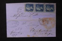 ROYAUME UNI - Lettre De Londres Pour L 'Allemagne En 1862 , Affranchissement Bande De 3 -  L 20939 - Marcofilie