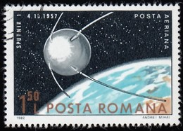 ROMANIA - Scott #C257 Sputnik I / Used Stamp - Oblitérés