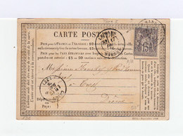 Sur Carte Postale Type Sage 15 C. Gris CAD Le Mans 1896. CAD Destination Crest. Correspondance. (1022x) - Marcophilie (Lettres)