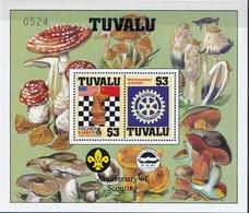 Feuillet Neuf** Tuvalu Champignon, échecs Anniversaire Scoutisme, Numéroté - Pilze