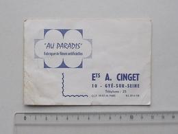 """GYE-SUR-SEINE (10): Carte De Visite Ancienne """"AU PARADIS"""" - Fabrique De Fleurs Artificielles Ets A. CINGET - Visiting Cards"""