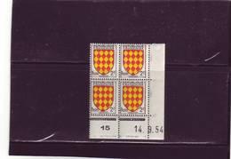 N° 1003- 2F Blason De L'ANGOUMOIS - B DE A+B - 1° Tirage Du 10.9.54 Au25.9.54 -14.09.1954 - - Coins Datés