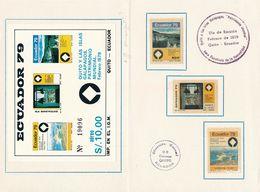ECUADOR 1979: Folder Mit Mi 1805-7+Block 89 QUITO Y LAS ISLAS GALAPAGOS PATRIMONIO MUNDIAL * MLH - Equateur