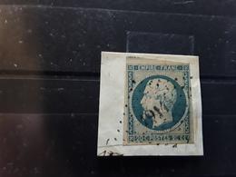 Empire No 14 A F  Bleu Laiteux  Obl Pc  1914  De MASSEGROS , Lozère ,  Indice 18, 1 VOISIN, Sur Fragment, TTB - 1853-1860 Napoléon III
