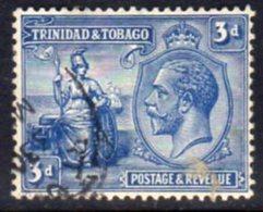 Trinidad & Tobago GV 1922-8 3d Blue Definitive, Wmk. Mult. Script CA, Used, SG 223 - Trinidad & Tobago (...-1961)