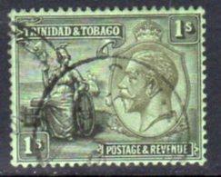 Trinidad & Tobago GV 1922-8 1/- Black On Emerald Paper Definitive, Wmk. Mult. Script CA, Used, SG 227 - Trinidad & Tobago (...-1961)