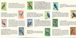 """BOTSWANA 1967: Definitive Issue """"Birds"""" Michel-No. 19-32 Affixed In Official 8 Page Folder (4 Shown) With Descriptions - Passereaux"""