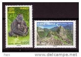 2008-UNESCO N°140/141** GORILLE & PEROU - Servizio