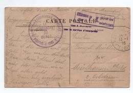 """1916 - CP FM Avec CACHET """"DEPOT DES PRISONNIERS DE GUERRE à MONISTROL SUR LOIRE"""" (HAUTE LOIRE) - Poststempel (Briefe)"""