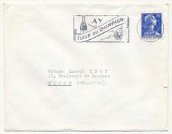 Enveloppe - OMEC Secap - AY (Marne) - AY / Fleur Du Champagne - 1958 - Sellados Mecánicos (Publicitario)