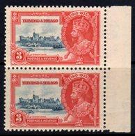 Trinidad & Tobago GV 1935 Silver Jubilee 3c Marginal Pair, Hinged Mint, SG 240 - Trinidad & Tobago (...-1961)