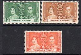 Trinidad & Tobago GVI 1937 Coronation Set Of 3, Hinged Mint, SG 243/5 - Trinidad & Tobago (...-1961)