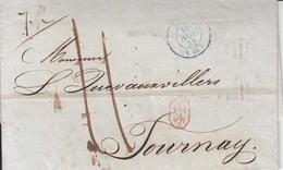 """Lac  De Dc PARIS / Pesante Le 1.11.39 Par Lille 20.9 -*> Tournay   Avec VACATION """" 3"""" Encerclée ( Herlant Page 161 ) - P - 1830-1849 (Belgique Indépendante)"""
