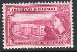 Trinidad & Tobago QEII 1953-9 Definitive 5c Post Office & Treasury Value, MNH, SG 271 - Trinidad & Tobago (...-1961)