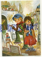 Couple D'enfants à  Paris (?). Quai, Peinture Sur Chevalet. Signée Aua (?) - Illustrateurs & Photographes