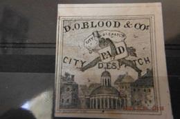RARE 1843-44 Timbre Poste Locale New-yok D.O.BLOOD &COS CITY DISPATCH POST.traces De Gomme(2eme Timbre) - 1845-47 Emissions Provisionnelles