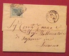 PONTREMOLI D.c.24/3/66 + Punti Su 20c. Lettera Completa Con Retro Annulli Di LIVORNO(PORTO) + LIVORNO + SARZANA - Storia Postale