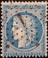 FRANCE Y&T N°60A Cérès 25c Bleu. Oblitéré étoile De Paris N°1 - 1871-1875 Ceres