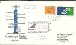 Pays-Bas Netherlands 1972 Flight Amsterdam - Berlin Schonefeld - Marcophilie