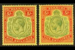 1918-22 5s, The Two Shades, SG 53/53d, Fine Mint. (2) For More Images, Please Visit Http://www.sandafayre.com/itemdetail - Bermudes