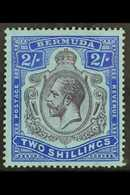 1924-32 2s Purple And Bright Blue On Pale Blue, With Break In Lines Below Left Scroll SG 88e, Fresh Mint, Couple Slightl - Bermudes