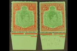 1951-53 10s. Perf 13, The Two Shades, SG 119e/f, Never Hinged Lower Marginal Examples. For More Images, Please Visit Htt - Bermudes