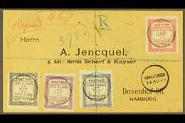 1893 (14th August) Rare Envelope Registered To Germany, Bearing The 1892 Set Of Four, SG 1/4, Tied By Black Cook Islands - Cook