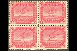 1893-1900 (perf 11) 1s Deep Carmine Torea (SG 20a) - A Very Fine Mint BLOCK OF FOUR, The Lower Pair NEVER HINGED. For Mo - Cook