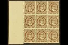 1893-1900 1d Brown Queen, SG 5, A Superb Left Marginal Block Of Nine, Fine Mint With Eight Being Never Hinged, Very Mino - Cook