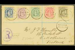 1894 (13th October) Envelope Registered To Victoria, Bearing Queen Makea Takau 1d Blue, 1½d, 2½d, 5d And 10d, Each Tied  - Cook