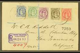 1897 (June) Highly Attractive Envelope Registered To San Francisco, Bearing Queen Makea Takau 1d, 1½d, 2½d, 5d And 19d,  - Cook