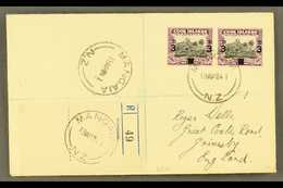 """1940 3d On 1½d Black And Purple, SG 130, Horizontal Pair On Neat 1941 """"Wells"""" Envelope Registered MANGAIA To England. Fo - Cook"""