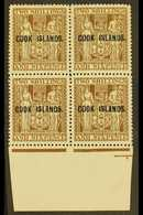 1943-54 2s.6d Dull Brown Arms, Upright Watermark, SG 131, Lower Marginal Block Of Four, Very Fine Mint With The Lower Pa - Cook