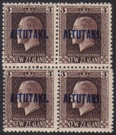 AITUTAKI 1918 3d Chocolate Mixed Perf (SG 16b) Never Hinged Mint BLOCK OF FOUR. For More Images, Please Visit Http://www - Cook