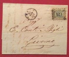 PRATO 21/10/1867 + Punti Su 20c. LETTERA COMPLETA COMPLETA DI TESTO PER LIVORNO - Storia Postale