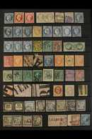 USED RANGES WITH POSTMARKS INTEREST INCLUDING UNUSUAL CANCELS. 1849-1930's Interesting Range Of Used Stamps On Stock Pag - France