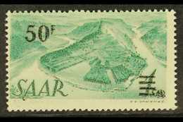 """1947 50f On 1Sm Green Surcharge, Variety """"PRINTED ON THE GUMMED SIDE"""", Mi. 238 II FA G, Very Fine NHM. Scarce And Impres - Sarre"""