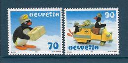 Timbres Neufs** De Suisse, N°1601-2 Yt, Pingu, Dessin Animé, Bébé Pingu Facteur, Motoneige - Neufs