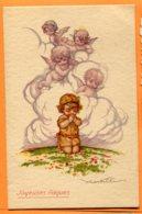 VAL086, Illustrateur, Ange, Belle Fantaisie, Joyeuse Pâques, 766, Circulée 1924 - Angels