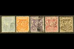 BRITISH EAST AFRICA 1896-1901 1r To 5r Complete, Wmk Crown CA, SG 75/9, Very Fine Used (5 Stamps). For More Images, Plea - Publishers