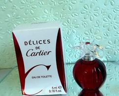 """Miniature """" DELICES """"  De CARTIER Eau De Toilette 5 Ml Dans Sa Boîte (M76-3) - Miniatures Femmes (avec Boite)"""