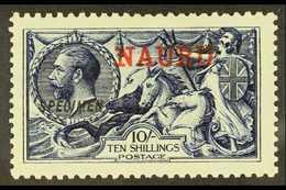 "1916 10s Indigo- Blue Waterlow Seahorse With ""SPECIMEN"" Overprint, SG 18s, Never Hinged Mint. Few Exist In Never Hinged  - Nauru"