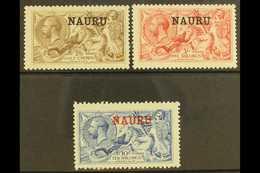 1916-23 De La Rue Seahorse High Values Set, SG 21/23, Mint, The 2s6d With Feint Tone Spot On The 2s6d Gum But A Fresh Se - Nauru