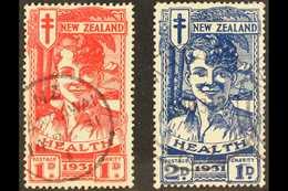 """1931 """"Smiling Boy"""" Health Set, SG 546/47, Fine Cds Used (2 Stamps) For More Images, Please Visit Http://www.sandafayre.c - Nouvelle-Zélande"""