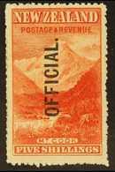 OFFICIAL 1907 5s Deep Red Mt. Cook, Ovptd Official, SG O67, Superb Mint. For More Images, Please Visit Http://www.sandaf - Nouvelle-Zélande