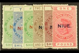 1918 - 29 POSTAL FISCALS Complete Set To £1 Including Perf 14 5s Yellow Green, The £1 On Cowan Paper, SG 32/6, 37c, All  - Niue