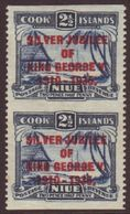 1935 2½d Dull And Deep Blue Silver Jubilee Opt, SG 70, Vertical Pair, IMPERF Horizontally,  From A Proof Sheet (see SG F - Niue