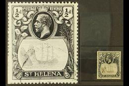 "1922-37 ½d Grey-black & Black, ""TORN FLAG"" VARIETY, SG 97b, Fine Used For More Images, Please Visit Http://www.sandafayr - Sainte-Hélène"
