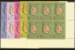 1966 8th Arab Telecoms Conf Set, SG 655/9, In Superb Never Hinged Mint Corner Blocks Of 6. (5 Blocks) For More Images, P - Arabie Saoudite